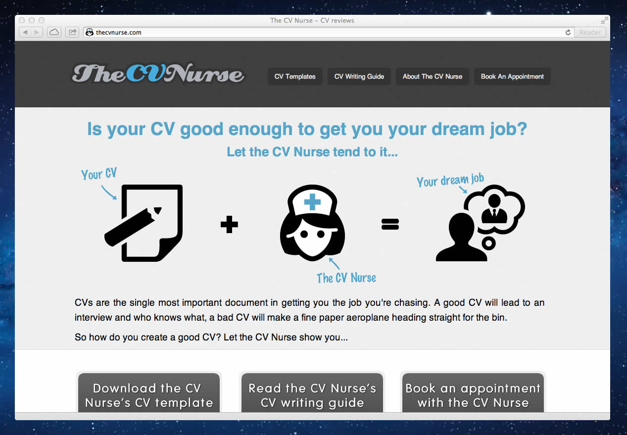 james mcquarrie user experience consultant the cv nurse screenshot of the cv nurse homepage