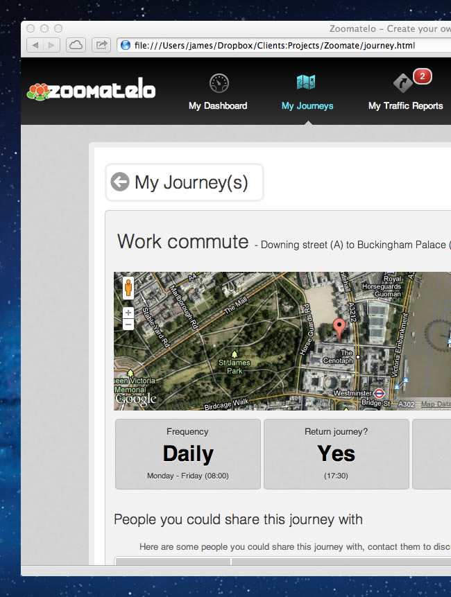 Screenshot of one of the Zoomatelo account management screens