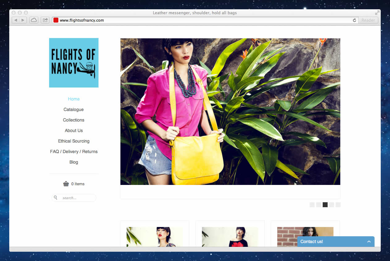 Screenshot of the Flights Of Nancy leather and batik bags online store