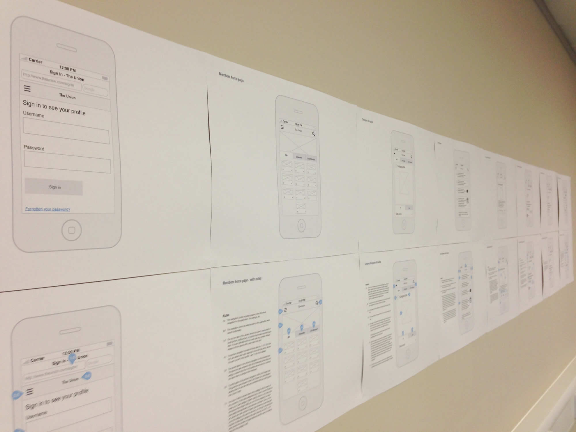 Photo of The Union wireframes