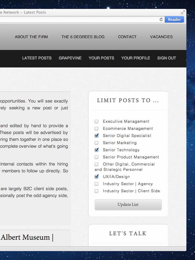 Screenshot of the Bearing Executive Network