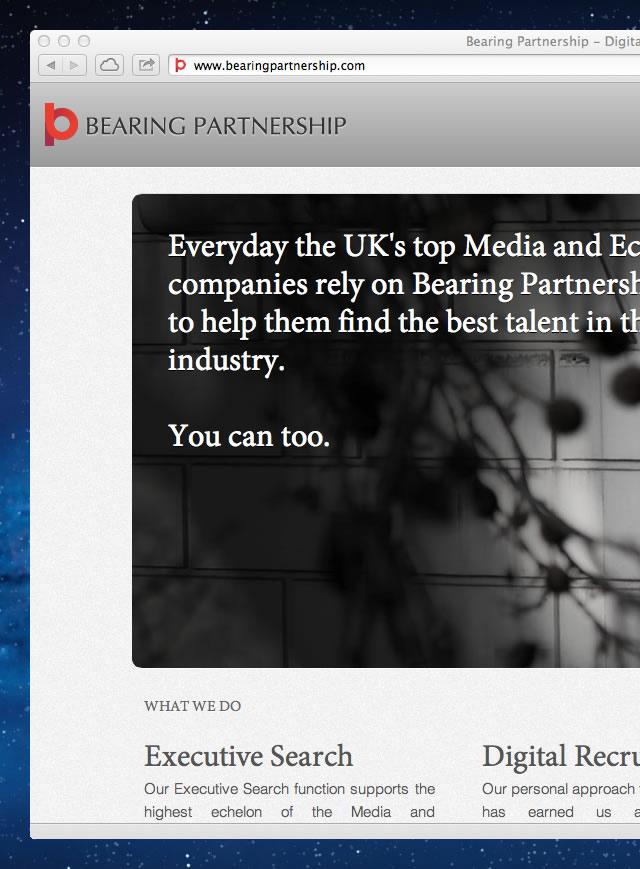 Screenshot of the Bearing Partnership homepage