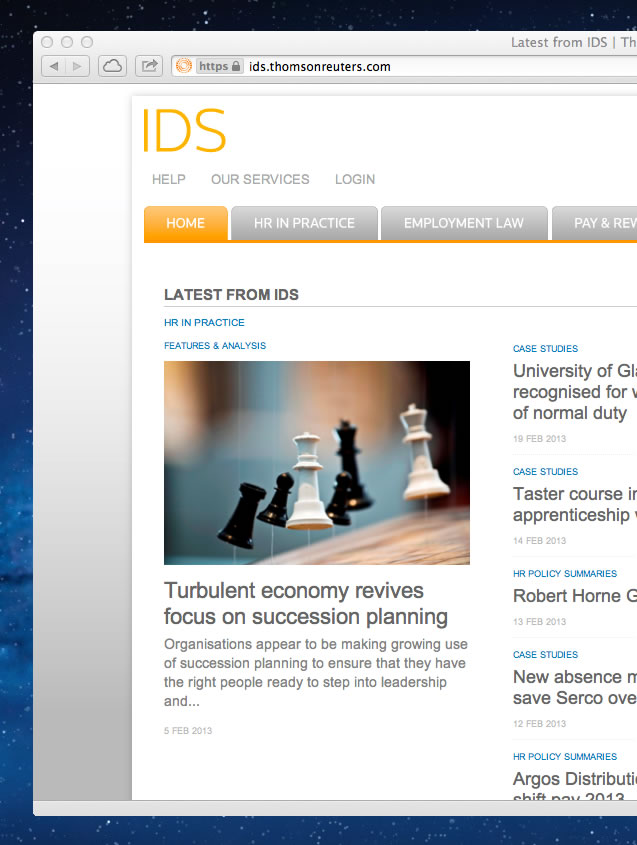 Screenshot of the IDS homepage