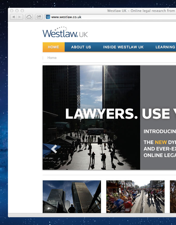 Screenshot of the Westlaw UK homepage