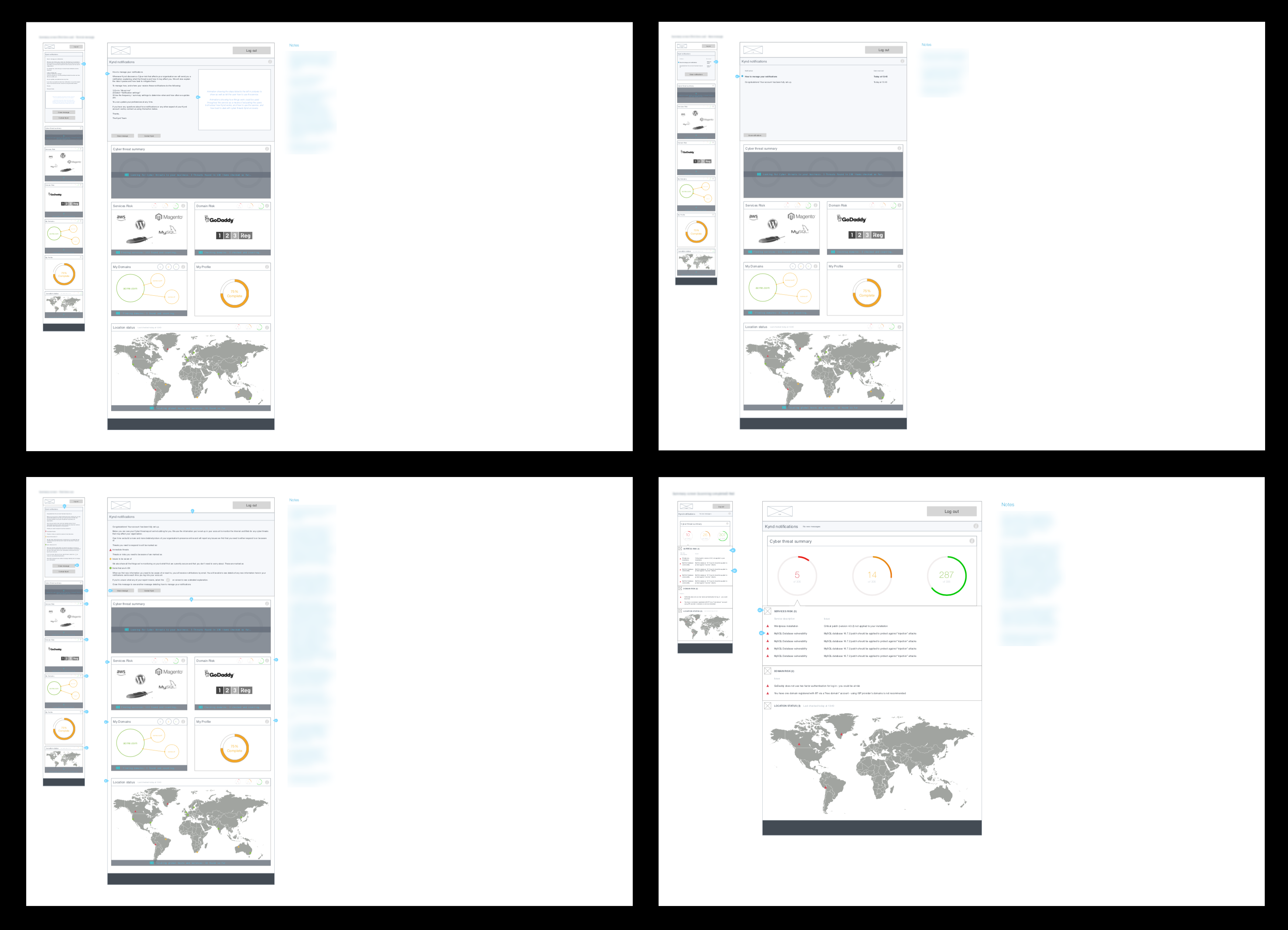 Screenshots of example documentation of designs for different states of screens