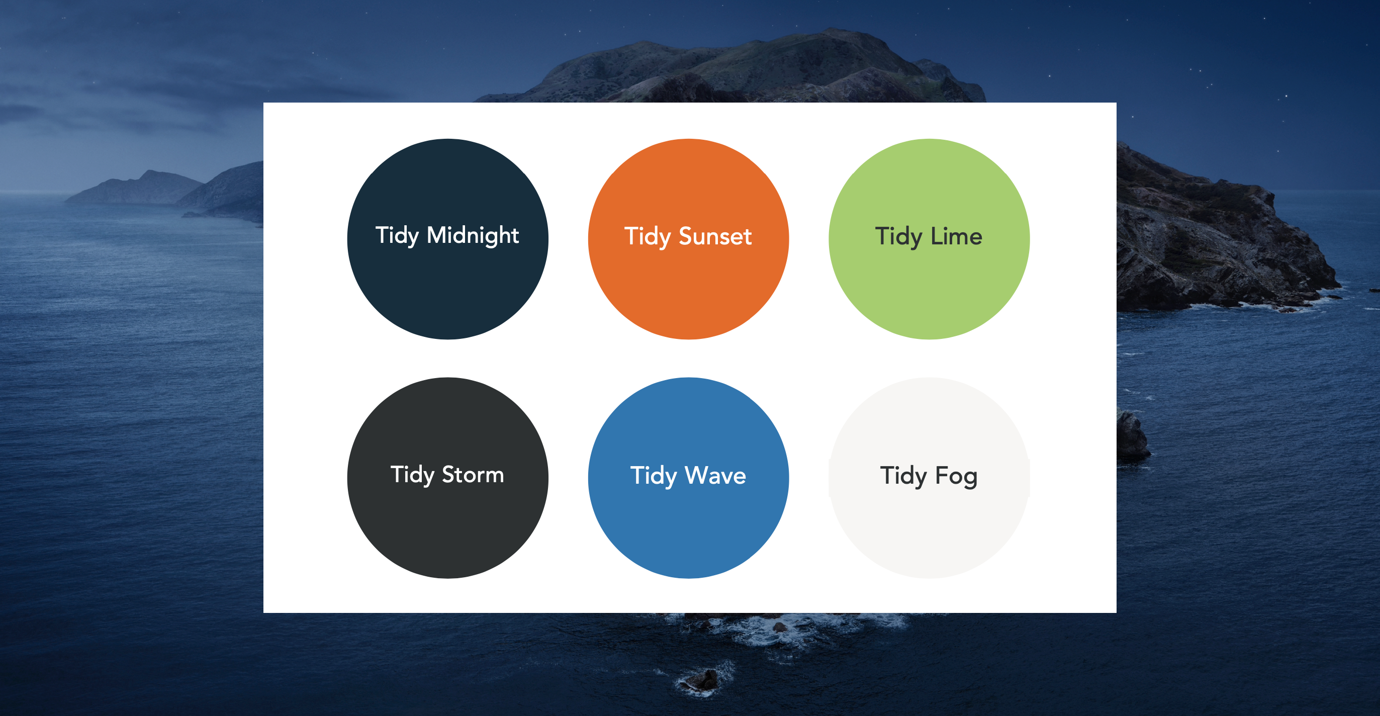 screenshot of the six colour Tidy colour palette