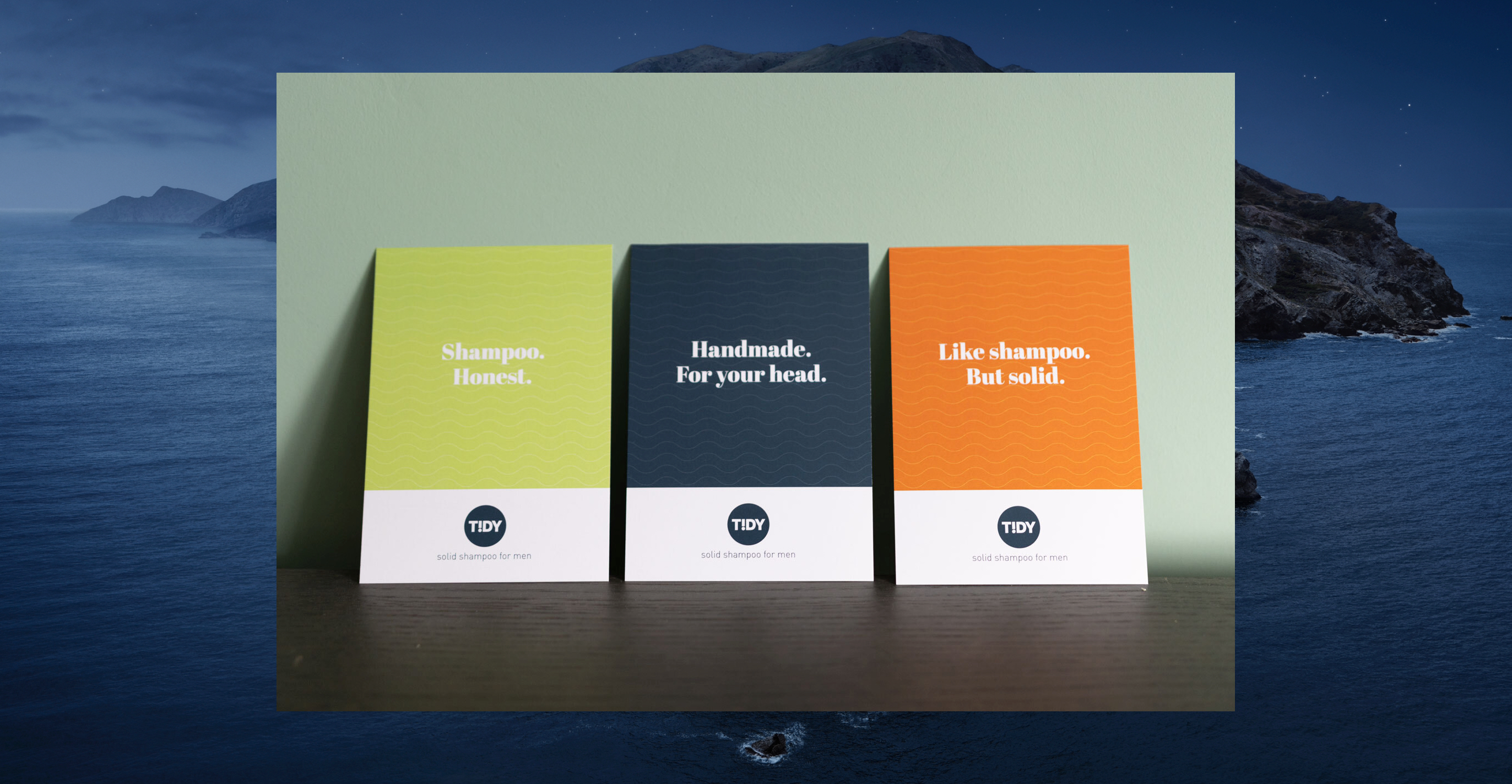 Photo of three Tidy postcards with different marketing messages on each